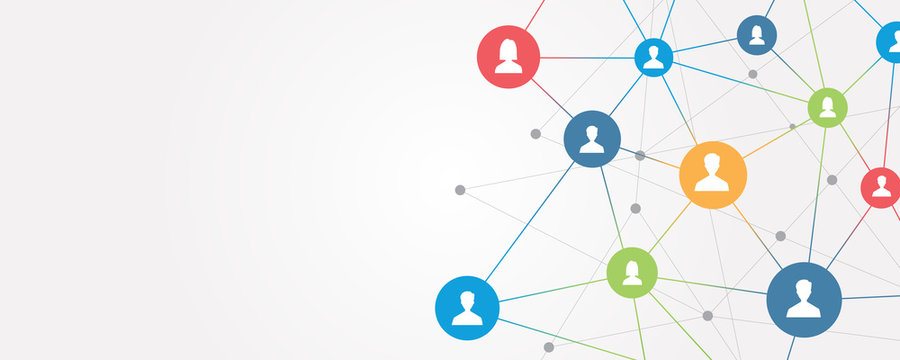 abstract  business connection on social network online concept
