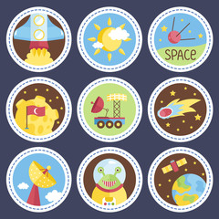 Space objects cartoon icons. Starting rocket, sun in clouds, satellite, exploration rover, comet, moon with turkey flag, parabolic antenna, cute alien, planet Earth vectors isolated on blue background