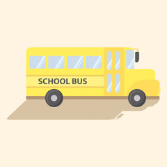 School Transportation Bus Yellow Vector Cartoon Illustration