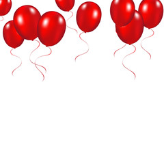 Red festive balloons background vector illustration on a white b