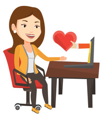 Young woman dating online using laptop.