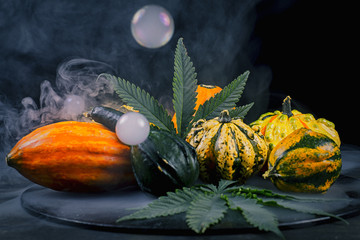 Thanksgiving background with autumnal squash, gourds and cannabi