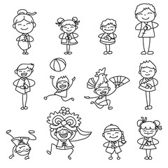 Set of hand drawing cartoon character people Happy Chinese New Y