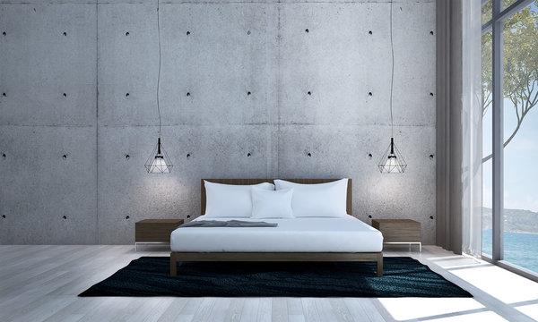 The interior design of loft bedroom and sea view