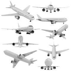 white mock up plane