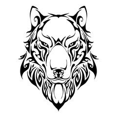 Wolf head symmetry balance tribal tattoo silhouette vector with white isolate background