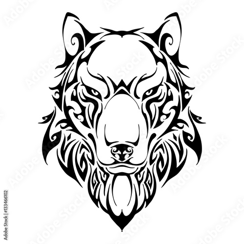 Wolf head symmetry balance tribal tattoo silhouette vector