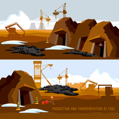 Coal mine banner, process of coal mining, bulldozers, conveyor