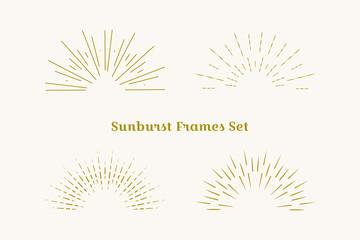 Sunburst frames set. Retro gold Sun burst shape. Vintage explosion logo, label, badge. Firework design element. Old light rays. Retro, vintage, hipster style