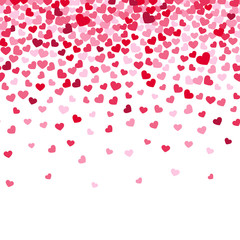 Flying heart confetti, valentines day vector background