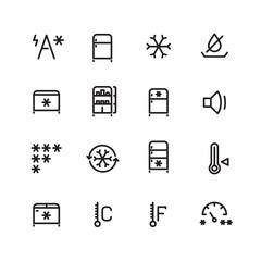 Fridge, freezer, ice machine vector thin line icons