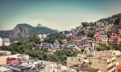 Favela with Corcovado Hill and Christ in the background, Rio De Janeiro
