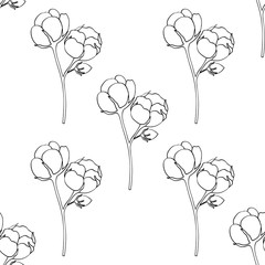 Cotton hand drawn sketch illustration, seamless pattern. Ingredient for fabric, treatment, cosmetics. Retro black on white background