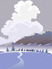 Vector winter landscape. Cloudy landscape.