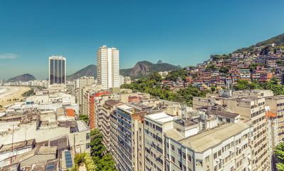 Favela (shanty town) above Copacabana Beach Buildings, Rio De Janeiro