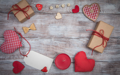 Celebratory background to Valentines day: hearts, gifts and bows