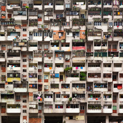 Geometrical pattern of multistory apartment house with group of windows and tenant lumber on balconies. Asian cities street background. Cheap accommodation,   social problems in overcrowded countries.