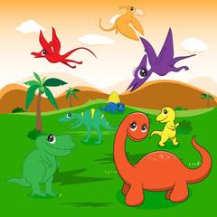 illustration of cute dinosaurs cartoon EPS10 File simple Gradien