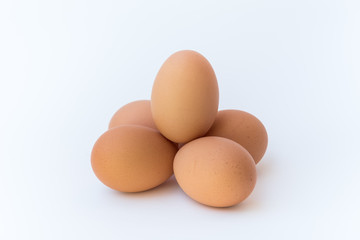 A group of chicken eggs.