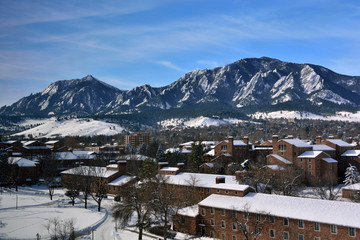 The University of Colorado Boulder Campus on a Snowy Winter Day