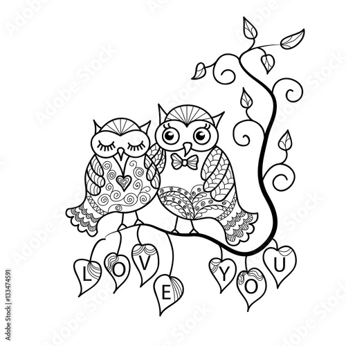 two cute owls on a tree branch hand drawn owl in doodle art style