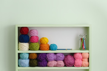 Colorful Balls Of Wool On Shelves