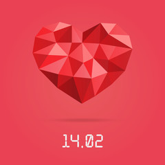 Happy valentines day design template. Low Polygonal heart with Valentines day date.