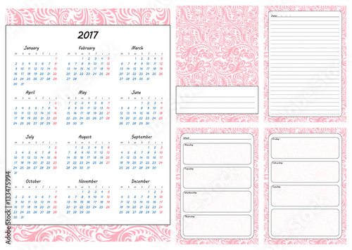 set of pages template for daily planner printable for scrapbooking