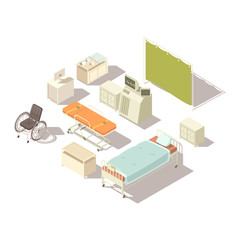 Isometric Elements Of Hospital Interior