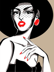 Black and white fashion woman portrait, vector