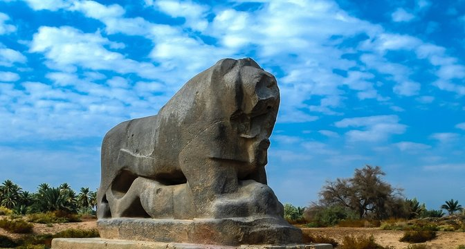 Statue of Babylonian lion in Babylon ruins, Iraq