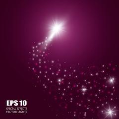 Christmas Magic Glittering Light. Shining Swirl Light. Vector Illustration.