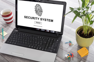 Security system concept on a laptop