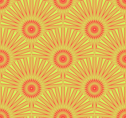 Seamless tile with stylized dandelion flowers in red and green