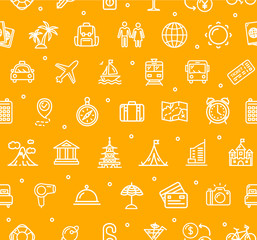 Travel and Tourism Background Pattern. Vector