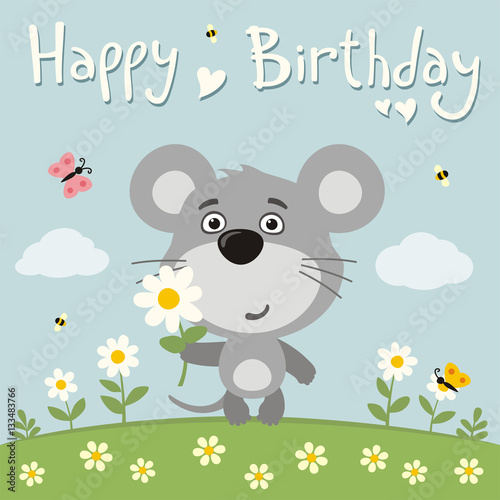 Happy Birthday Cute Mouse With Flower On Meadow Birthday Card With