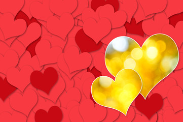 Gold Heart with Red Heart background. Valentines Day.
