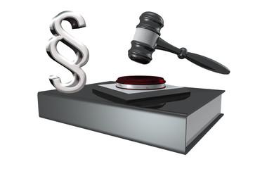 Gesetzbuch mit Richterhammer und Paragraphenzeichen auf weißem H