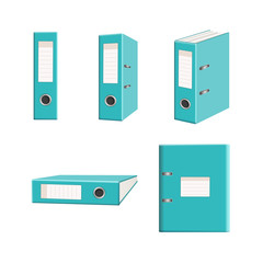 isoated clip art office arch mechanism turquoise folders set
