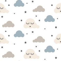 Sleepy clouds seamless kid vector pattern. Gray, blue and white background. Cute baby style textile fabric cartoon scandinavian ornament.