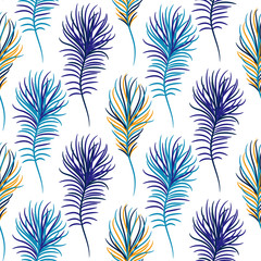 Bird blue seamless vector pattern. Exotic feathers tileable print for textile or wrap paper.