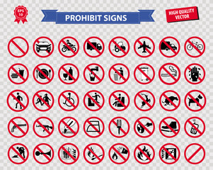 set of prohibited sign ( do not smoking, no drinking and eating, do not litter, no entry, no cellular phone, car prohibit sign, motorcycle prohibit sign, bicycle prohibit sign ) easy to modify
