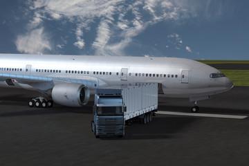 Keuken foto achterwand Luchthaven LKW und Flugzeug auf dem Vorfeld eines Flughafens