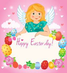Easter Day. Illustration A Little Girl Angel Wings On A Cloud. Easter Greeting Card. Girl Angel Costume. Girl Angel Wings. Girl Angel From Supernatural.