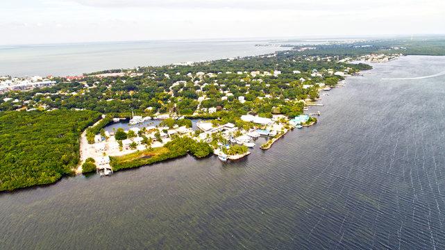 Aerial View Island of Islamorada in Florida Keys