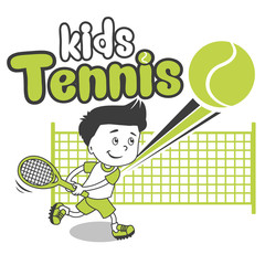 Young Boy. Boy Playing Tennis. Kids Tennis. Vector Illustration on White Background. Tennis in College. Tennis For Beginners. Player, Young Sportsman. Trainee Happy Player Junior.