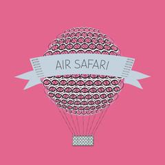 Zentangle air baloon. Air safari