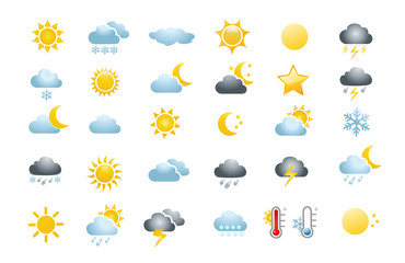 Fototapeta 30 weather icons on white background