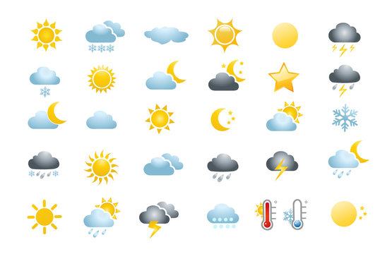 30 weather icons on white background