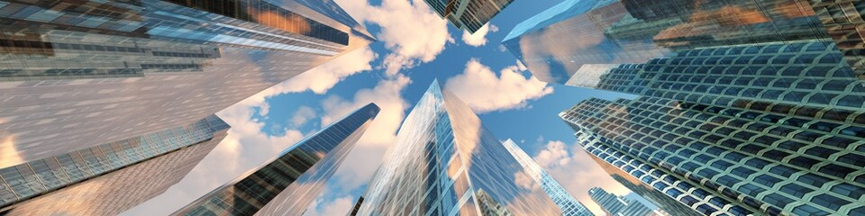 Panorama of beautiful skyscrapers against the sky with clouds. 3d rendering.
